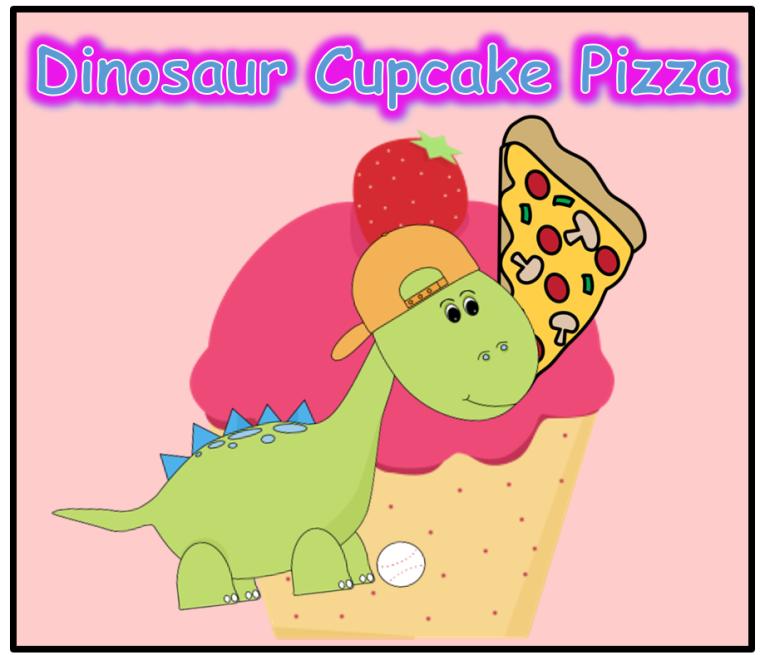 Dinosaur Pizza Cupcake Logo